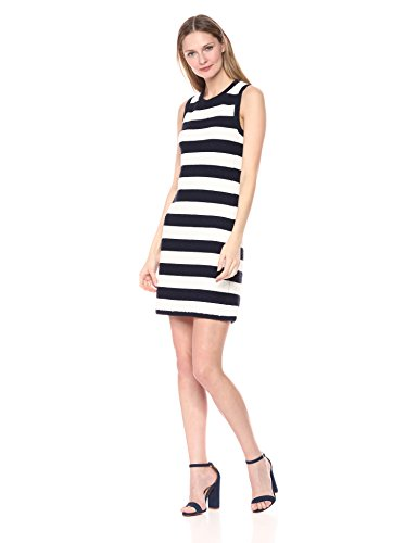Eliza J Damen Textured Stripe Knit Freizeitkleidung, Navy/Ivory, Klein - Eliza Stripe
