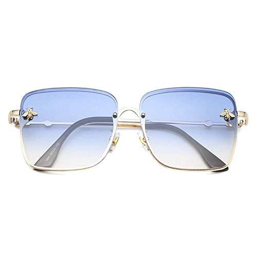 YSA Sonnenbrille Big Box Lady Sonnenbrille Transparente Linse Little Bee Square Übergroße weibliche Schatten-Sonnenbrille