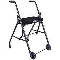 KMINA - Andador KMINA COMFORT 2 Ruedas, Andador para ancianos con ruedas, Andador con asiento para adultos, Andador para mayores de aluminio, Andador para ancianos plegable con 2 ruedas y 2 conteras