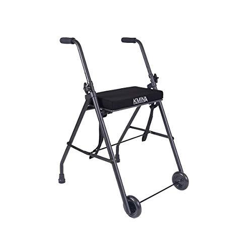 KMINA - Andadores Dos Ruedas, Andador KMINA COMFORT 2 Ruedas, Andadores Ancianos, Andador con ruedas, Andador con asiento para adultos, Andador para mayores de aluminio, Andador para ancianos plegable