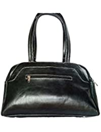 Star Exports Women's Buff Calf Polished Leather Bag Black