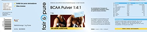 BCAA powder 1000g, branched-chain amino acids, BCAA unflavoured, pure form without any additives, BCAA made in Germany, 1kg