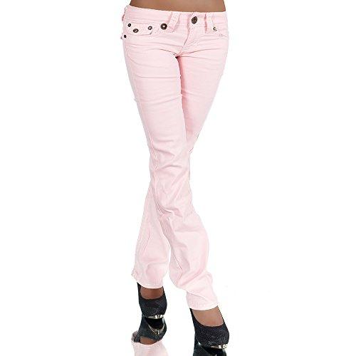H922 Damen Bootcut Jeans Hose Damenjeans Hüftjeans Gerades Bein Dicke Naht Nähte, Farben:Rosa;Größen:40 (L)