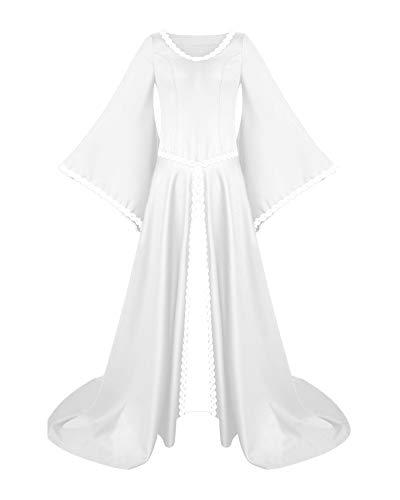PengGengA Damen Mittelalter Kleider Viktorianischen Königin Kleid Cosplay Kostüm Langarm Kleid-Gothic Jahrgang Prinzessin Renaissance Bodenlänge Weiß 2XL
