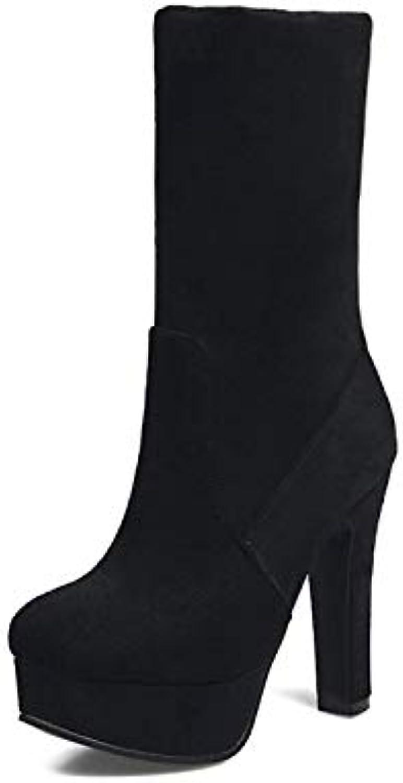 IWxez Stivali Stivali Stivali alla Moda da Donna Stivali in Tessuto Elasticizzato Autunno e Inverno Tacco a Spillo Punta Tonda... | Nuovo Arrivo  0c1578