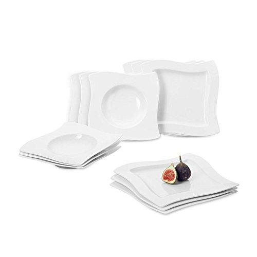 Villeroy & Boch NewWave Tafelservice für bis zu 6 Personen, 12-teilig, Premium Porzellan, Weiß Villeroy Und Boch New Wave