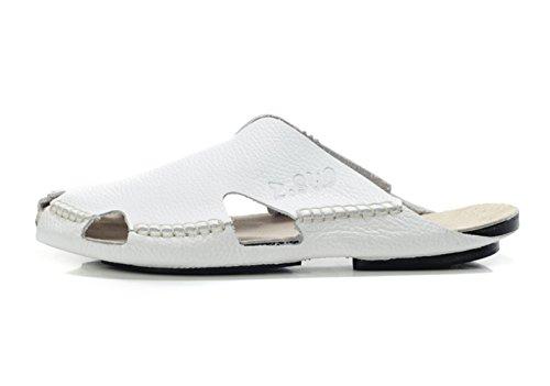 Insun Herren Sandalen Slingback Normal Flach Nein Peep-Toe Sandaletten Weiß