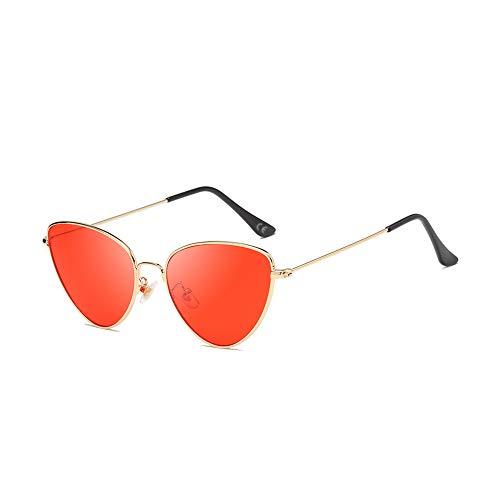 AMZTM Katzenauge Sonnenbrillen - Vintage Retro Brillen für Mädchen Damen UV400 Schutz HD Vision Sonnenbrille Damenmode Sonnenbrillen (Goldener Rahmen, rote Linse)