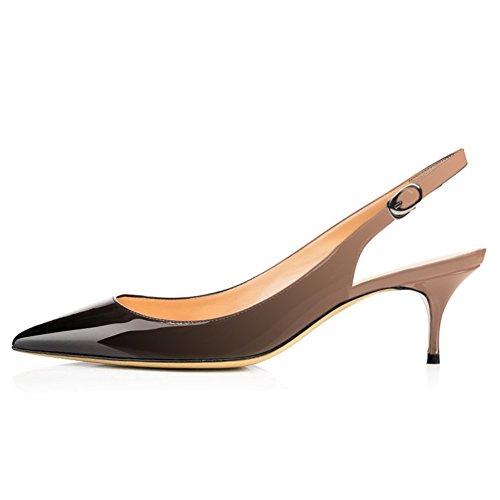 EKS Frauen Spitzschuh Mid Heels Slingback Patent Kleid Party Pumps Schuhe Nackt-Schwarz 40 EU