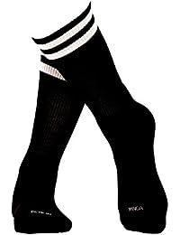 Schwarze Frottee Sportsocken mit weißen Streifen aus langstapliger Bio Baumwolle, GOTS zertifiziert