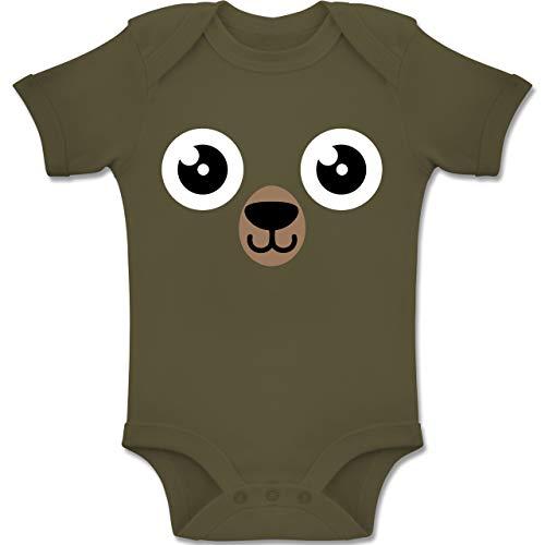 Papa Kostüm Und Mama Bären Baby - Shirtracer Karneval und Fasching Baby - Bär Karneval Kostüm - 1-3 Monate - Olivgrün - BZ10 - Baby Body Kurzarm Jungen Mädchen
