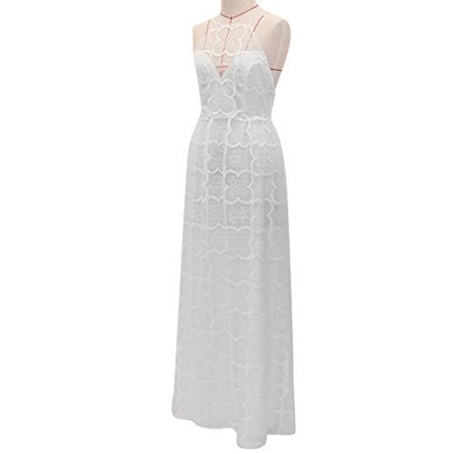 Miss Fortan Damen Kleid Riemen Kreuz Hochzeits V-Ansatz Elegantes Partei Abend-dünnes Hohles Spitze Kleid (Mutterschaft Cocktail-kleid)
