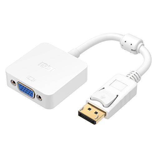 Adapter DP auf VGA, iczi DisplayPort auf VGA Adapter Konverter Vergoldet männlich auf weiblich 1080P für Verbinden DisplayPort PC und Notebook zu VGA Displays weiß -