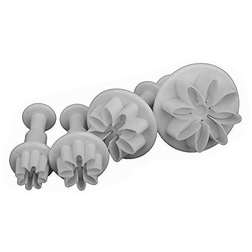 HearsBeauty Fondant Sugarcraft Kuchendekoration Icing Plunger Ausstecher Backen-Form 4pcs Daisy Flower Cutter Daisy Cutter