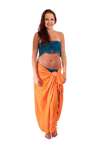 Sarong Pareo Lunghi Dhoti Wickelrock Standtuch Halstuch Stickerei Tolles Muster Orange