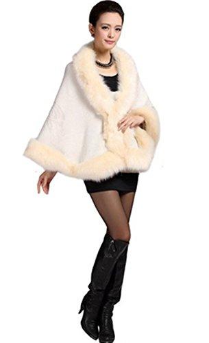 PLAER aux femmes Faux fourrure de renard Wrap Châle chaud Cap Manteau Cape Châles tricotés Beige