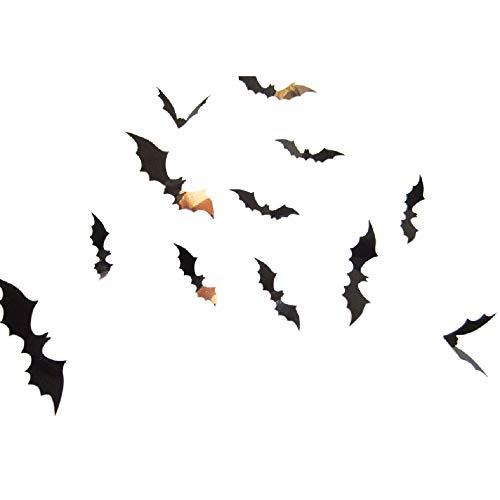 Maleya Schwarz 3D DIY Fledermaus Wandaufkleber 3D Schmetterlinge Fledermaus Wandtattoo Abziehbilder Fenster Wand dekor mit Klebepunkten Schwarz Wohnzimmer Kinderzimmer Aufkleber Halloween Dekoration -