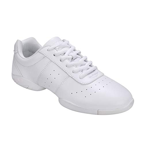 Yudesun Tanzschuhe Outdoor Sport Schuhe Damen - Leder Lace Up Laufschuhe Gymnastik Training Schuh Modern Turnschuh Sneakers Fitness Cheerleader Gym Freizeit (Schuhe ist Kleiner)