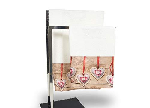 Set de serviettes et serviettes de bain en impression numérique ligne fresh Coeur de Joujou Telo Bagno Cuore Pezza