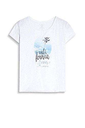 edc by ESPRIT Damen T-Shirt 057cc1k001 Weiß (White 100)