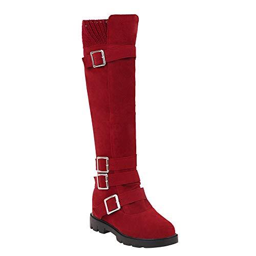 BIGTREE Botas para Mujer, Zapatos Planos, Botas hasta la Rodilla, Zapatos de otoño Invierno, Cremallera...