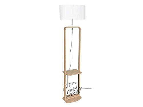 Corep Cosy Stehleuchte mit Ablage und Zeitschriftenhalter, Holz, Baumwolle, Höhe 169 cm