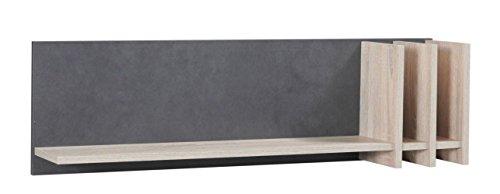 Küchenregal Hängeregal Küchen-Wandregal - 102 cm breit, Farbe: Sonoma Eiche / Grau