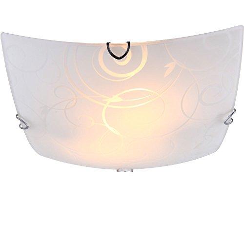 Praktische Deckenleuchte Metall weiß Glas opal satiniert mit Ornamentik Globo MAVERICK 40491-2 - Glas Maverick