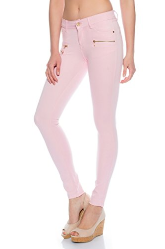 Freyday Modische Bequeme Damen Jeggings Leggings Hüfthose Stretch Slimfit (Rosa, M / 38)