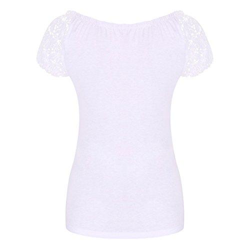 Damen Bluse?VLUNT Damen Sexy T-Shirt Tops Bluse Oberteil Mit Spitze Weiß