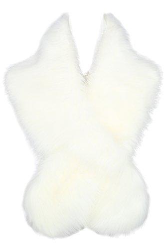 ArtiDeco Damen Kunst Pelz Schal Flauschig Faux Pelz Umschlagtuch Kragen für Wintermantel 1920er Jahre Flapper Accessoires Outfit Warm Zubehör 120 cm lang (Weiß) -