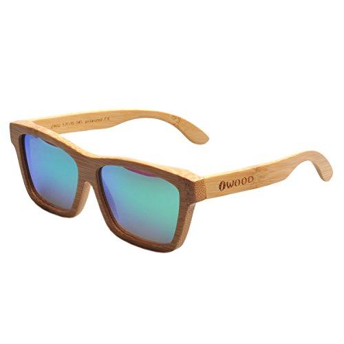 Iwood Artesanal de bambú carbono polarizado lente verde gafas de sol de madera