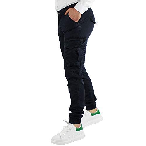 42137e73dbac30 Pantalone Uomo con Tasche Laterali Estivi in Cotone Slim Fit Verde Militare  Blu Grigio con Elastici