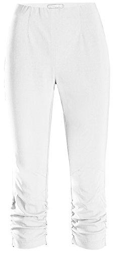 Stehmann Maria-530, stretchige Caprihose, seitlich gerafft Größe 42, Farbe weiß