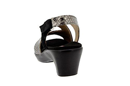 Scarpe donna comfort pelle Piesanto 8861 sandali soletta estraibile comfort larghezza speciale Negro