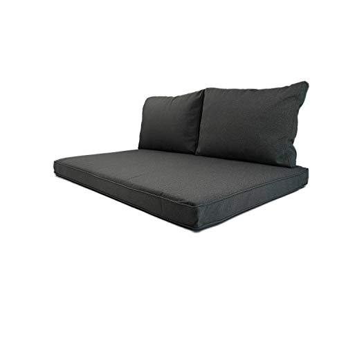 Nordje Palettenkissen Outdoor Exclusive mit wasserabweisenden Bezug bestehend aus Sitzkissen 120x80cm und Rückenkissen Loungekissen | Palettenauflage | Palettenpolster (Set, Grau)