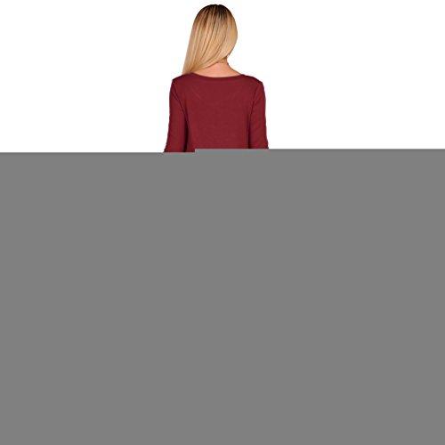 YuanDian Femme Automne Hiver Casual Manches Longues Courte Robe Couleur Unie Col Rond Poche Mini Courte Robe A Line Swing Basic Tunique T Shirt Robe Vin Rouge