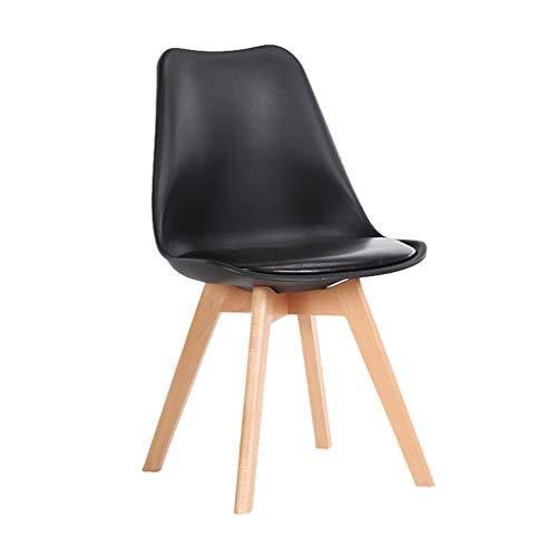Ailj sedia da pranzo nera moderna nordica, sedia con schienale per la casa cuscini in ecopelle gambe faggio massiccio blu grigio rosa bianco giallo (color : black)