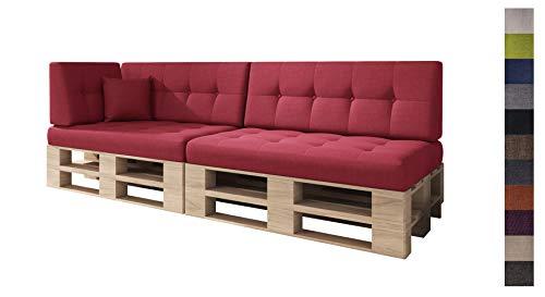 sunnypillow Palettenkissen Kaltschaum Palettenauflage Palettenpolster Palettensofa Sitzkissen Rückenlehne gesteppt 6er Set Red