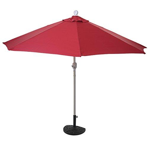 Mendler Sonnenschirm halbrund Parla, Halbschirm Balkonschirm, UV 50+ Polyester/Stahl 3kg ~ 270cm Bordeaux mit Ständer