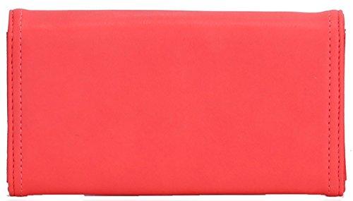 UKFS Damen der Frauen-Umschlag-Leder-Geldbeutel -Haken-Kupplungs-Geldbeutel Koralle