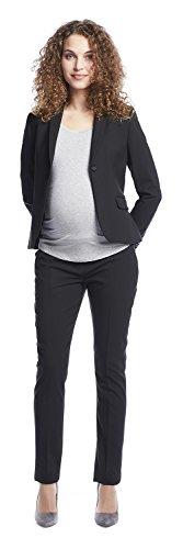 Queen Mum Damen Maternity Business-Hose Umstands-Hose Schwangerschafts-Hose stützendes Bauchband Twill grau mit Nadelstreifen oder klassisch schwarz Black (900)