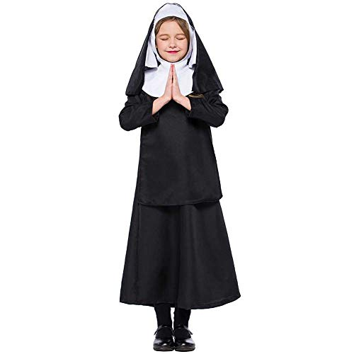 Kind Kostüm Nonne - GLXQIJ Kinder Scary Nonne Halloween Cosplay Kostüm,Black,L