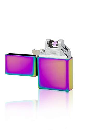 TESLA Lighter T03 | Lichtbogen Feuerzeug, Plasma Single-Arc, elektronisch wiederaufladbar, aufladbar mit Strom per USB, ohne Gas und Benzin, mit Ladekabel, in Edler Geschenkverpackung, Regenbogen