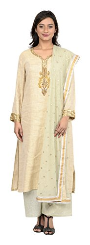 Coolife Women's Jute & Silk Salwar Suit Set (Beige, Medium)