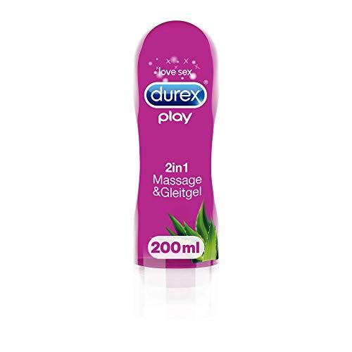 Durex Gleitgel Play 2-in-1 Massage Aloe Vera - Wasserbasiertes Gleitgel mit pflegenden Aloeveraextrakten für sinnliche Liebesmassagen - 1 x 200 ml im Spender -