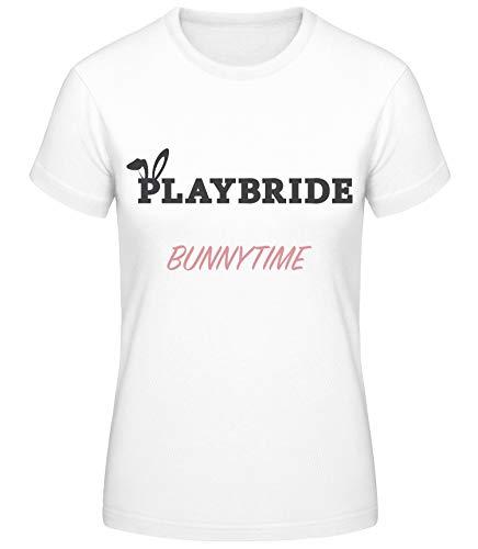Shirtinator Damen Playbride Bunnytime T-Shirt | Junggesellinnenabschied Geschenkidee für Frauen | Witziges T-Shirt (weiß/XXL) (Playboy Bunny Kostüm Weiß)