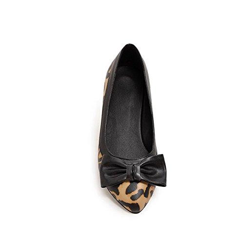 Voguezone009 Femme Shimmer Chaussures À Talons Bas Pointus Couleur Assortie Pull Jaune Ballerines