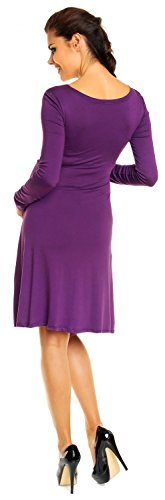 Zeta Ville - Damen - Umstandskleid Langarm - Cocktailkleid für Schwangere - 890c Lila