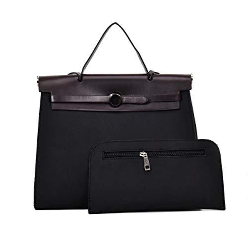 Mode einfache Kontrastfarbe Kelly Bag Hand Schulter Diagonale Kreuz Paket Trend weiblichen Beutel zweiteilig (schwarz, 40.5 * 14 * 25cm) - Kunden-id-nummer
